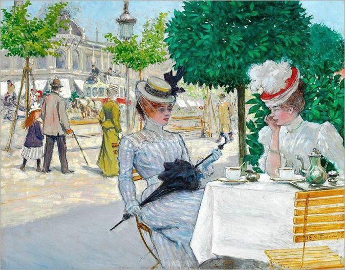 Paul Fischer 1887 To Elegante Damer Pa En Cafe Over For National Scala Maleri Pa Plade 32x41cm Vurdering 500 000 Producao De Arte Pinturas Modernas Pinturas
