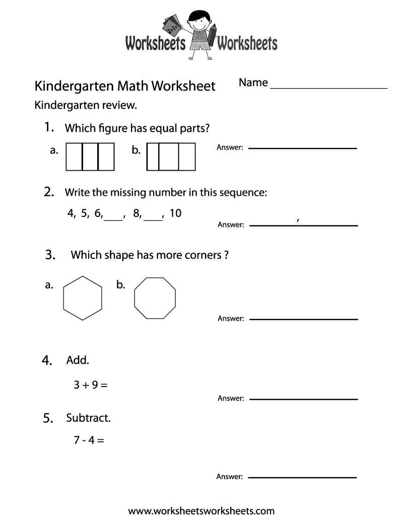 Kindergarten Math Practice Worksheet Printable Math Worksheets