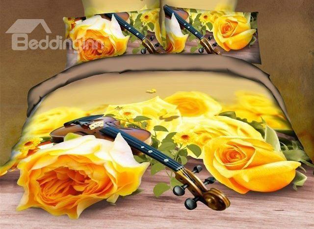 New Arrival Beautiful Yellow Roses And Violin Print 4