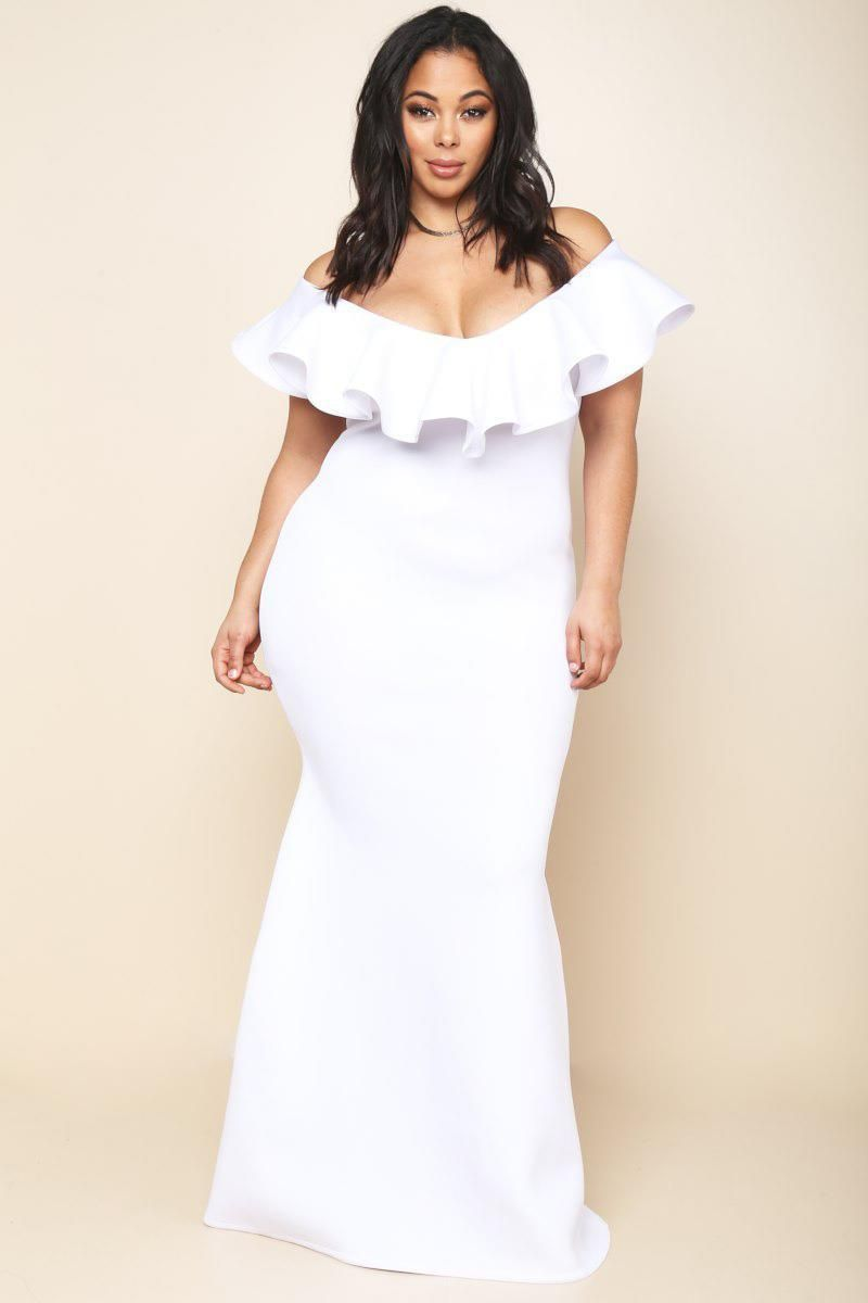 White Plus Size Mermaid Maxi Dress