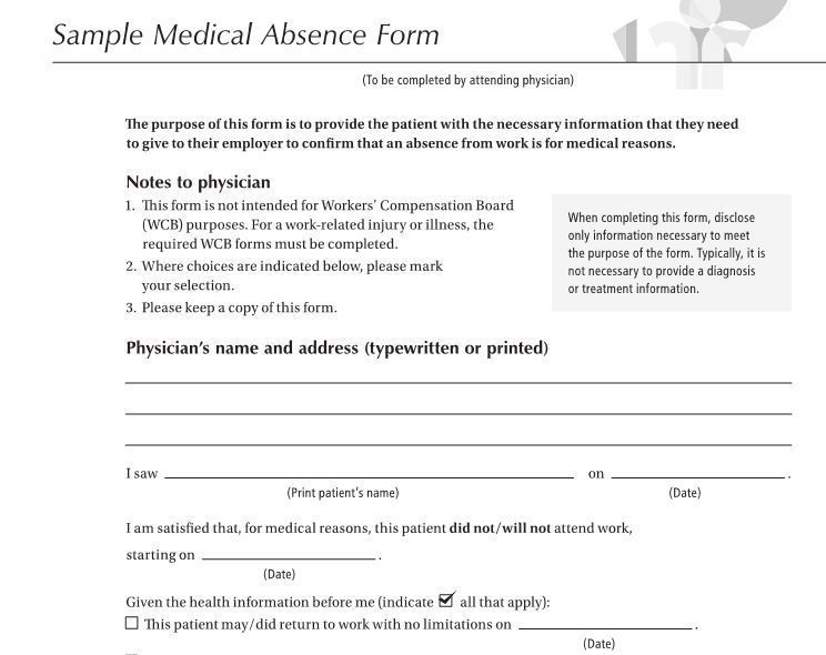 Doctors note for work absence free download doctors