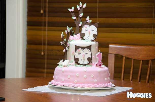 An Owl themed birthday cake Set in the woodlands For the 1st