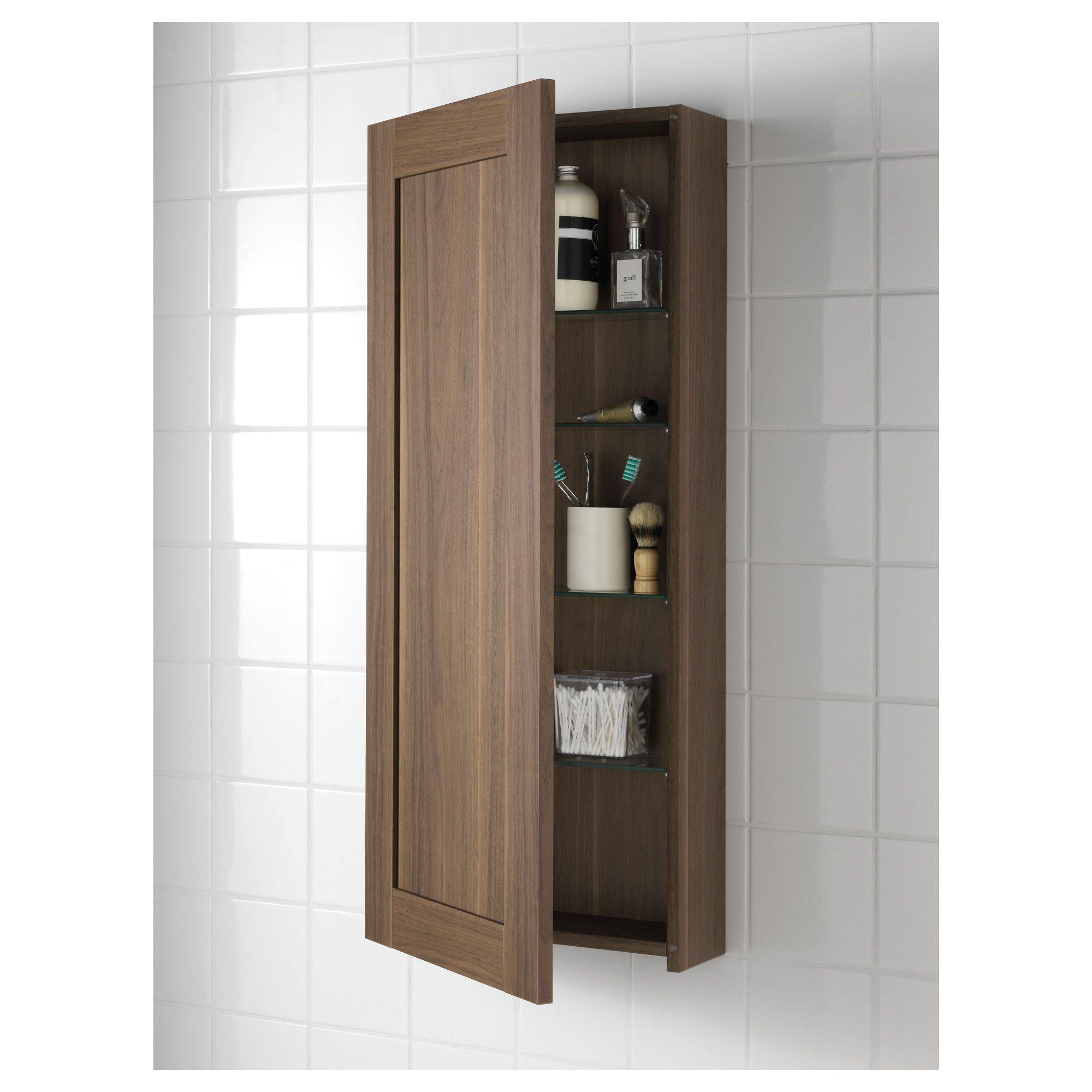 Morgon Wall Cabinet With 1 Door Walnut Effect Ikea Bathroom Vanity Cabinets