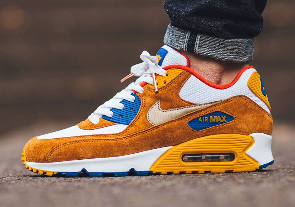 "official photos 3a43b ff37e The spirit of the legendary Air Max 1 ""Curry"" takes form in this brand new  Air Max 90 Premium release. Like the OG version, a supple light-brown suede  upper ..."