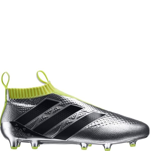 5e441b8ed11f adidas ACE 16+ Purecontrol Primeknit FG Silver Metallic/Core Black/Solar Yellow  Firm Ground Soccer Cleats model AQ6356