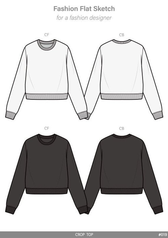 e6979ac9242 CROP TOP fashion flat sketch template in 2019 | Products | Fashion ...