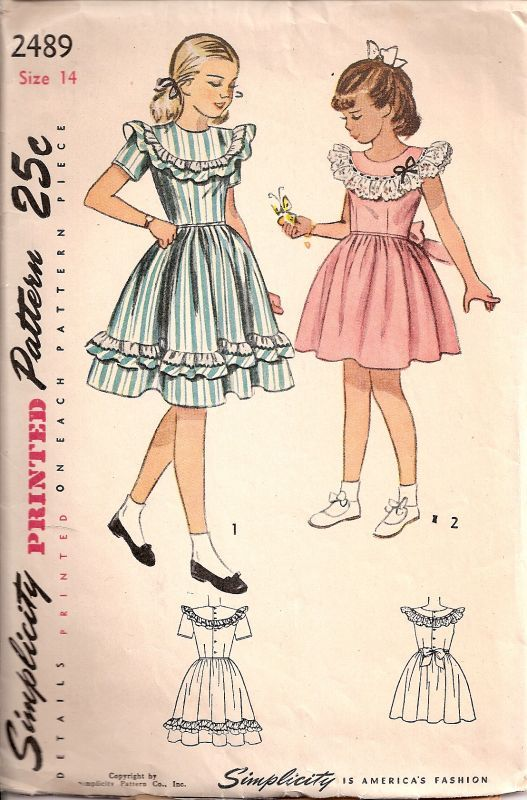 SIMPLICITY 2489 | 8. VINTAGE 1940s GIRLS SIMPLICITY PATTERNS | Pinterest