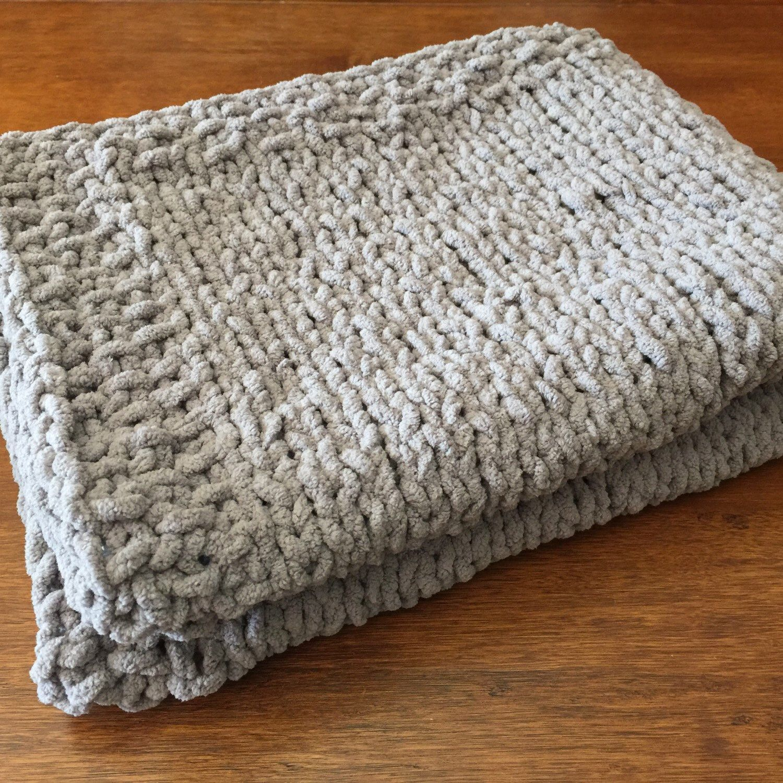 Hand Knit Blanket Made With Bernat Blanket Yarn In Gray