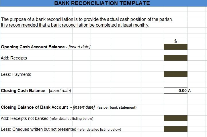 bank reconciliation statement excel format project