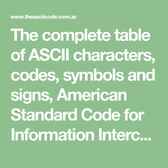 The Complete Table Of Ascii Characters Codes Symbols And Signs