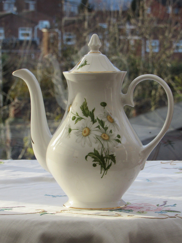 Vintage Bone China Coffee Pot Large Floral Berkshire Bone China