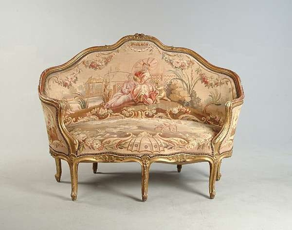 A louis xv style carved giltwood canap sofa pinterest for Canape style louis xv
