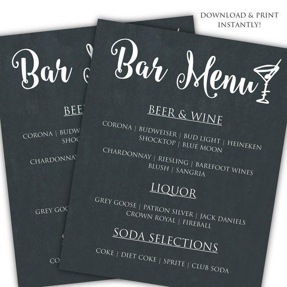 DIY bar menu template Printable bar menu by ClassyPrintsOnline ...