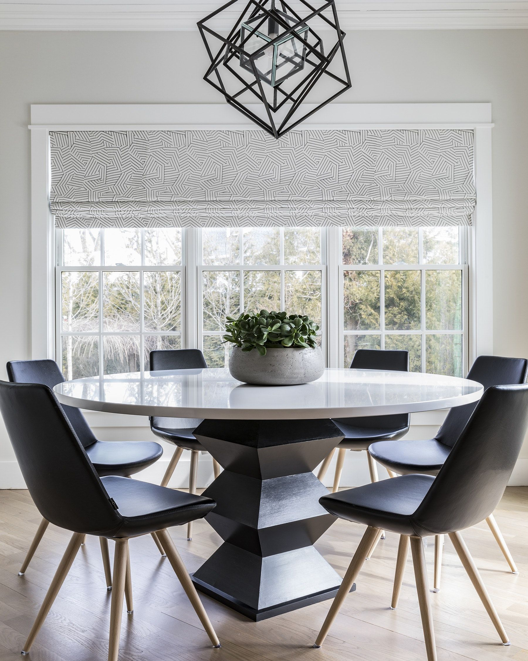 Black And White Breakfast Nook By A List Interiors White Dining Room Sets Modern Dining Room Lighting Modern Dining Room Light Fixtures