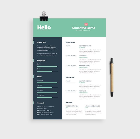 Creative Resume Template Cover Letter Format MS by papernoon Candy
