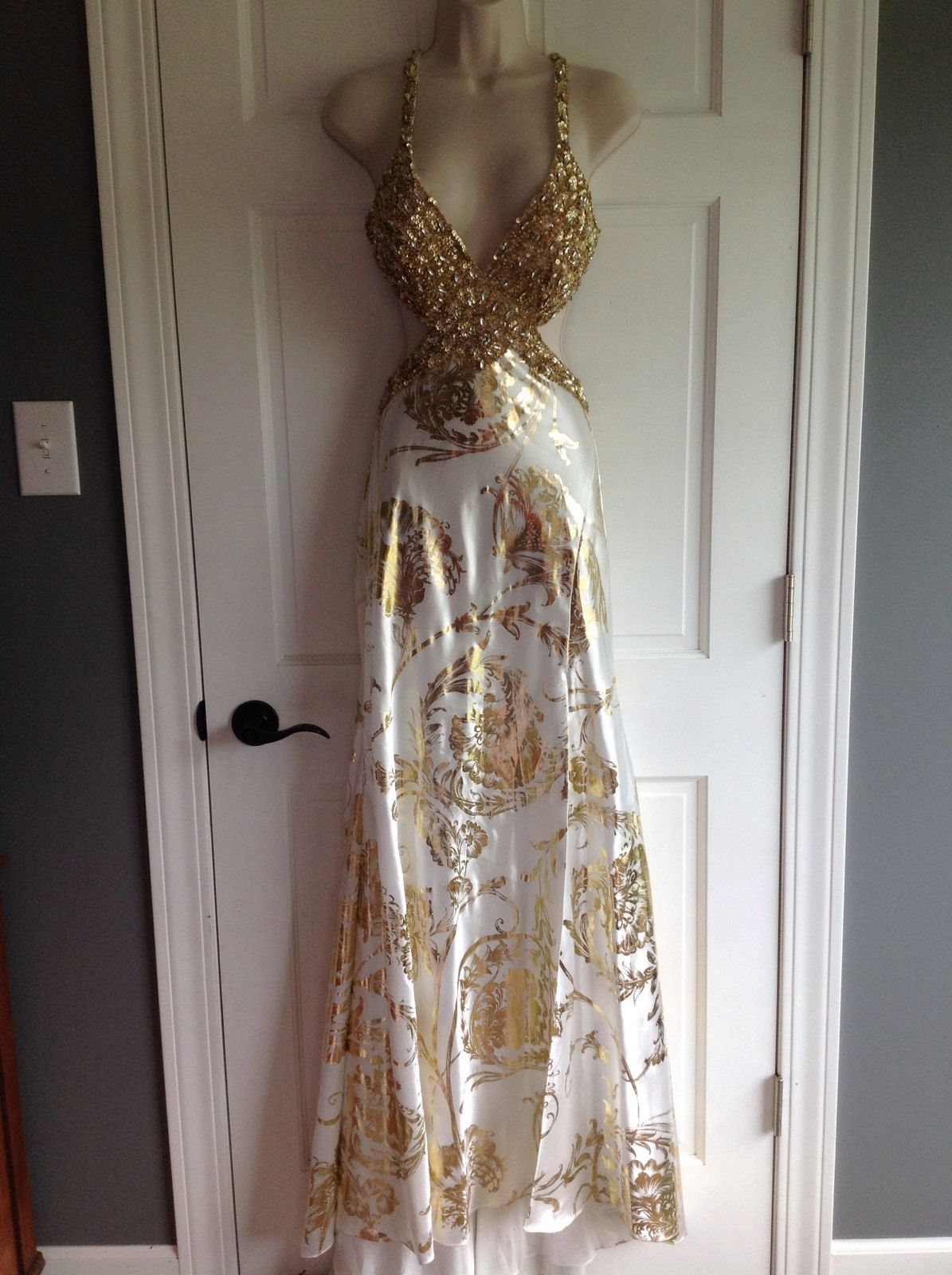 Awesome awesome mac duggal white gold beaded sequin pageant prom