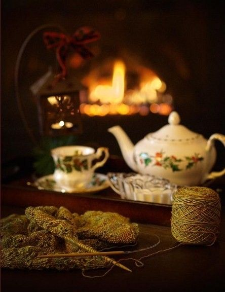 """my-very-own-life-in-the-woods: """" Tea & knitting by the fireplace… """""""