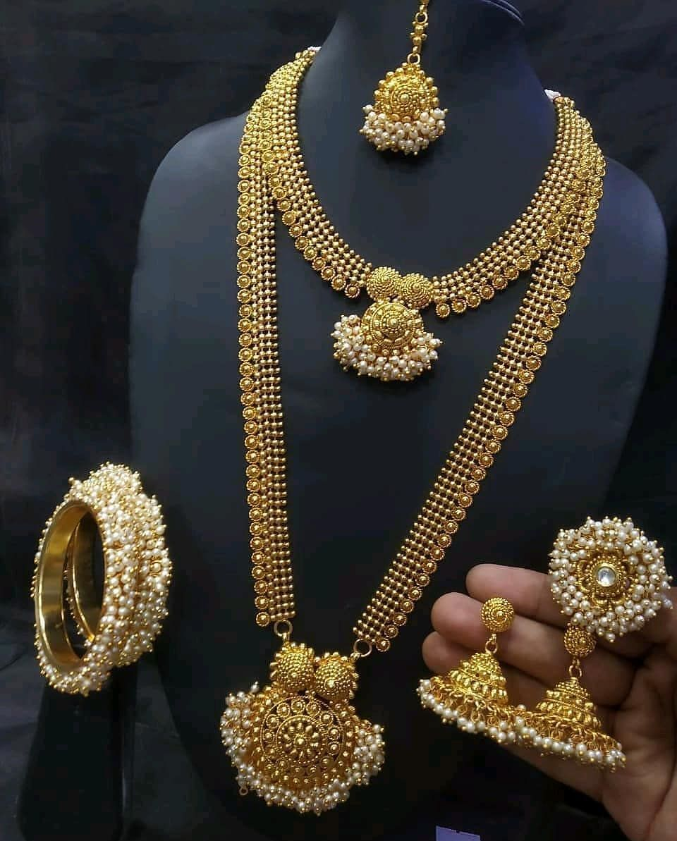 Dm For Credit For Orders Whatsapp No 9789841448 Instajewelry Gold Jewellery Style Accessories Jewelry Outfit Pearl Necklace Set Gold Pearl Necklace