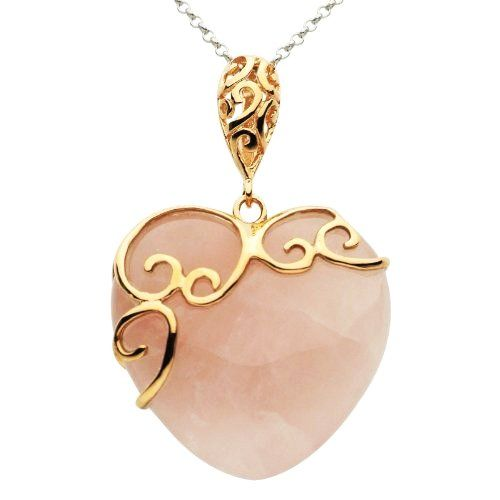 Amazoncom Rose Gold Plated Sterling Silver Heart Rose Quartz