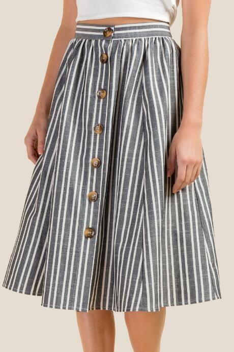 Karcey Button Front Midi Skirt #mittellangeröcke