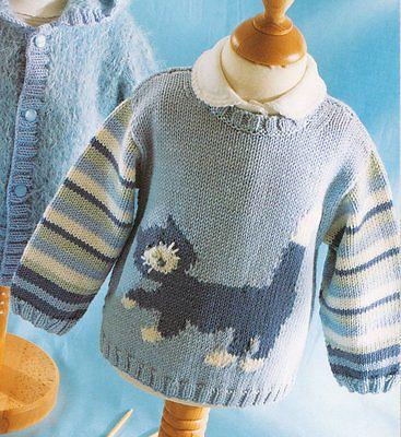 461df52fb Baby Children Cat Motif Sweater 0 - 4 years ~ DK Knitting Pattern ...