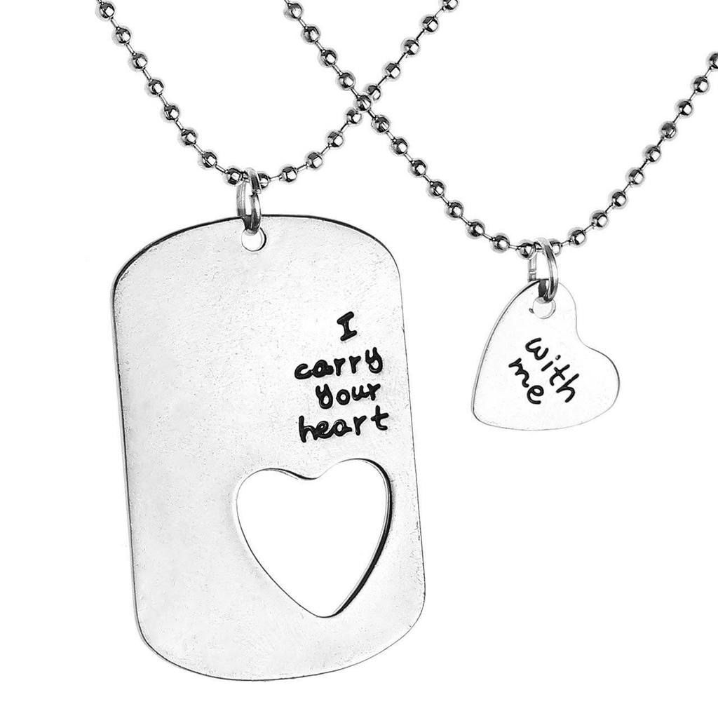I carry your heart with me necklace set couple necklaces and ball