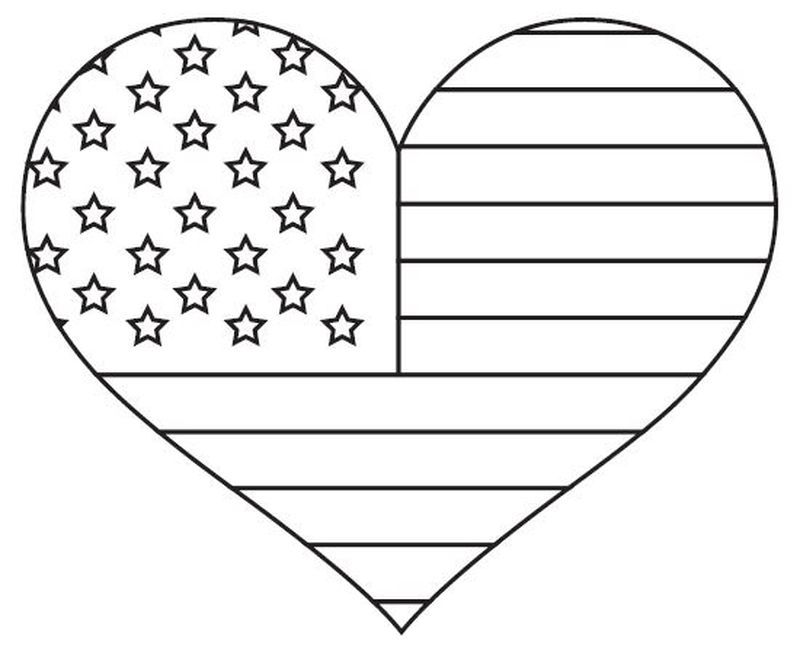 American Flag Coloring Pages Heart Coloring Pages American Flag
