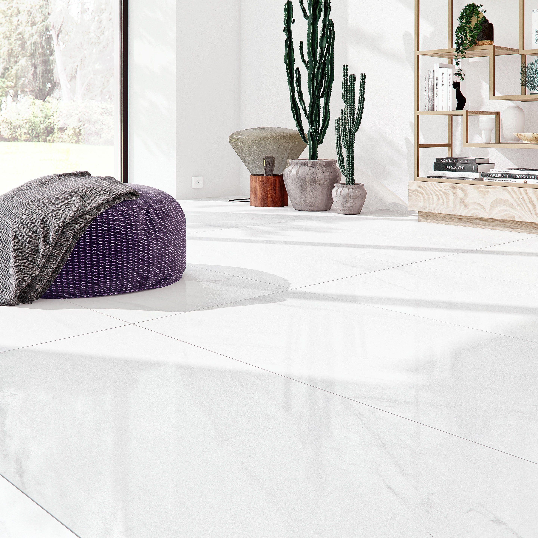 Carrelage Sol Et Mur Intenso Effet Marbre Blanc Marmi L 60 X L 120 Cm Artens Carrelage Interieur Carrelage Sol Marbre Blanc