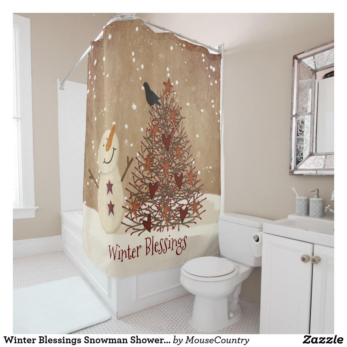Winter Blessings Snowman Shower Curtain Zazzle Com Snowman