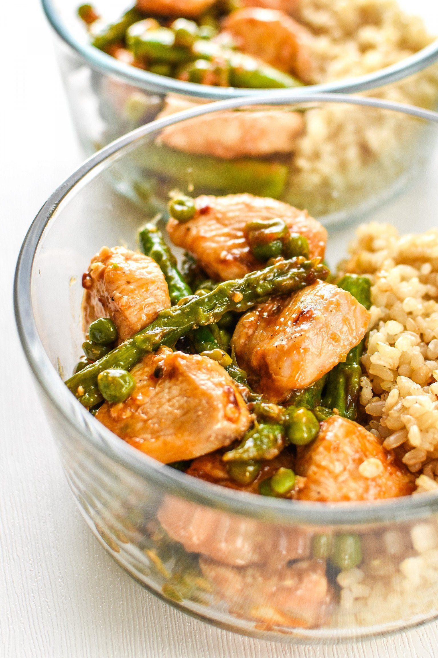 Meal Prep Spicy Chicken and Asparagus Rice Bowls #crockpotmealprep