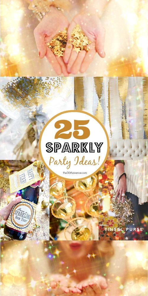 25 DIY Sparkly Party Ideas for the Holidays at the36thavenue.com These are  so fun!  newyears  glitter  sparkle abe84c340242