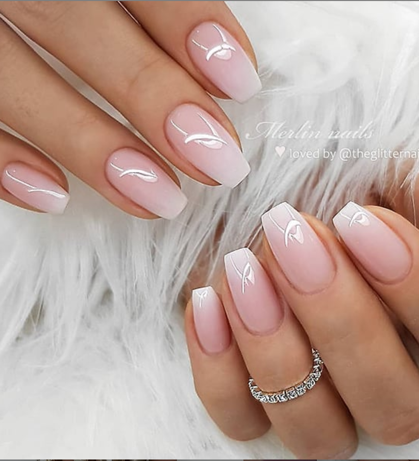 50 Pretty French Pink Ombre And Glitter On Long Acrylic Coffin Nails Design Ballerinanails In 2020 Short Acrylic Nails Designs Pink Ombre Nails Mauve Nails