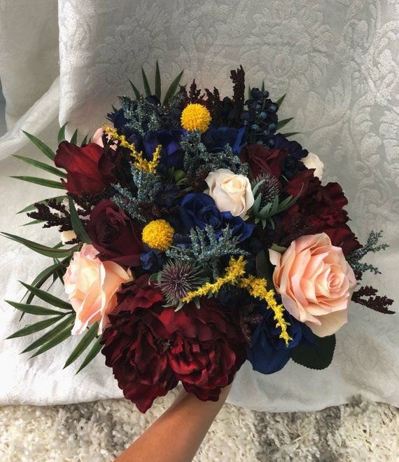 Wedding Set Bouquet Burgundy Navy Blue Red Peony