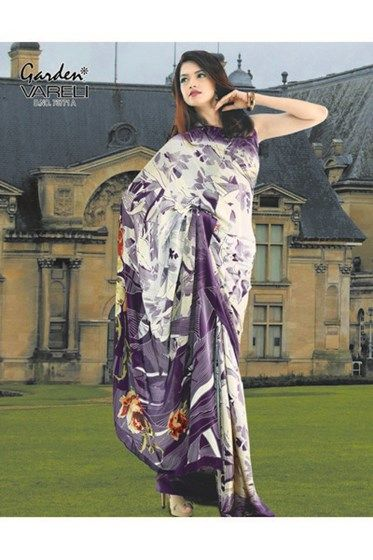 Buy Draped in Style White #CrepeSaree with Violet Border and Mega Florals at Rs.1,211/-