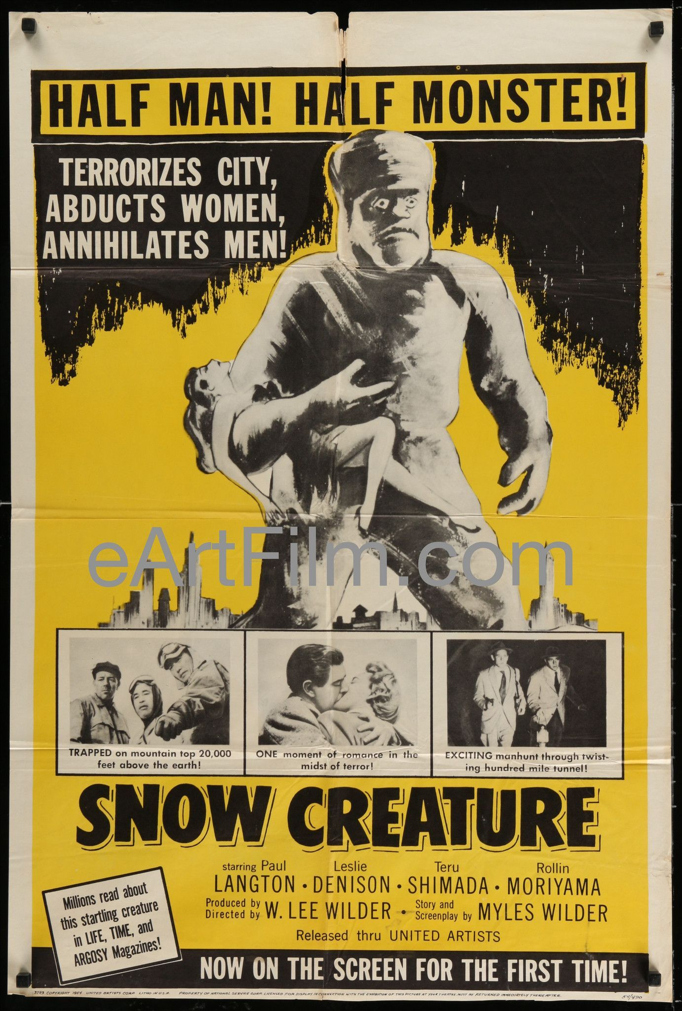 Snow Creature 1954 27x41 One Sheet United States Horror