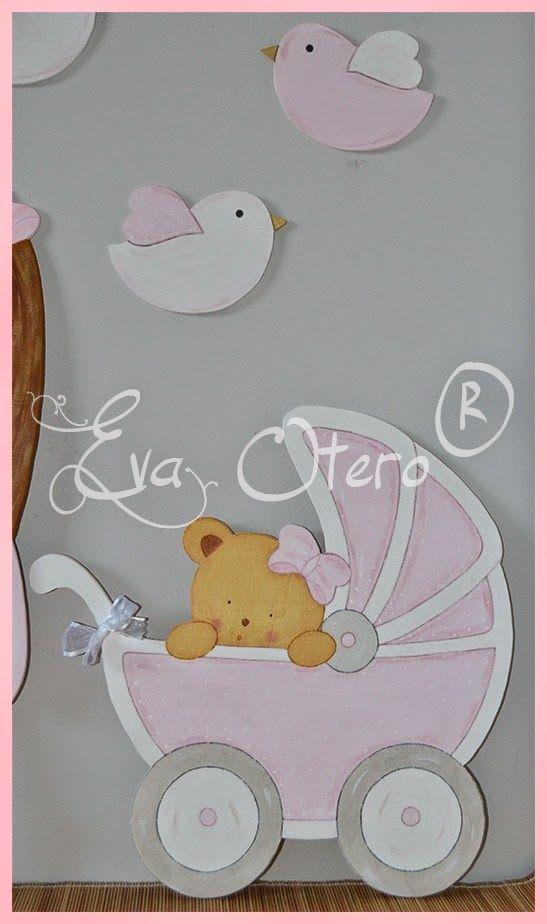 Adornos de scrapbooking Baby De Madera Cochecito bebé Idea