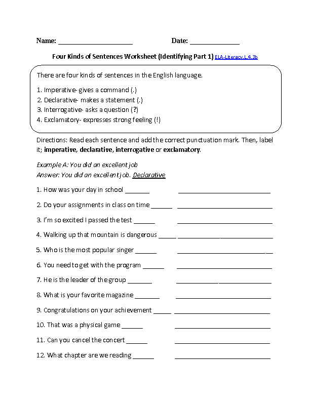 Kinds of Sentences 1 ELA-Literacy.L.4.3b Language Worksheet ...