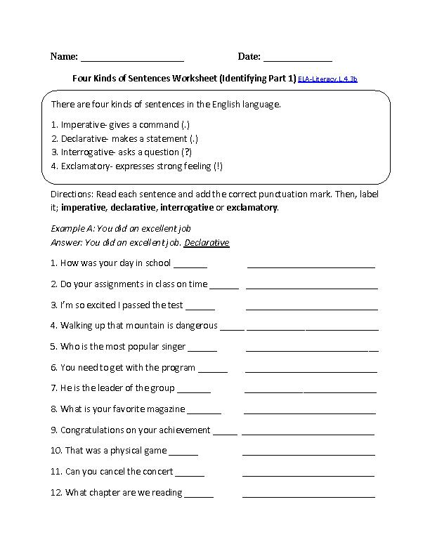 Printable Worksheets grade 3 sentence worksheets : Kinds of Sentences 1 ELA-Literacy.L.4.3b Language Worksheet ...