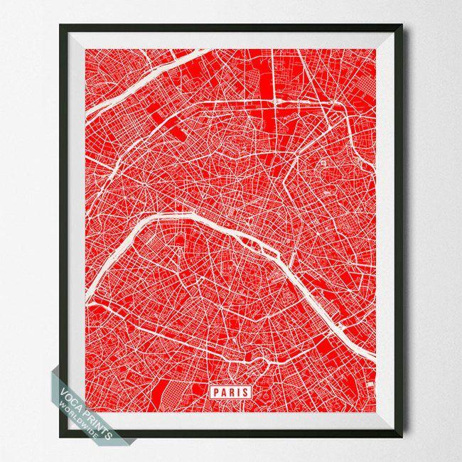 paris france street map print by voca prints modern street map art poster with