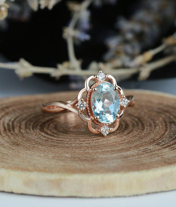 Aquamarine engagement ring vintage Rose gold oval cut Antique Delicate diamond Half eternity Wedding women Promise Anniversary gift for her