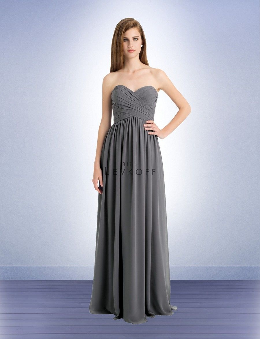 Bill Levkoff 740 Bridesmaid Dress. The strapless bodice is fashioned with a sweetheart bust and glamorous, ruching. Complete with a basque waistline, rich shirring adds stylish volume to the floor-length skirt.