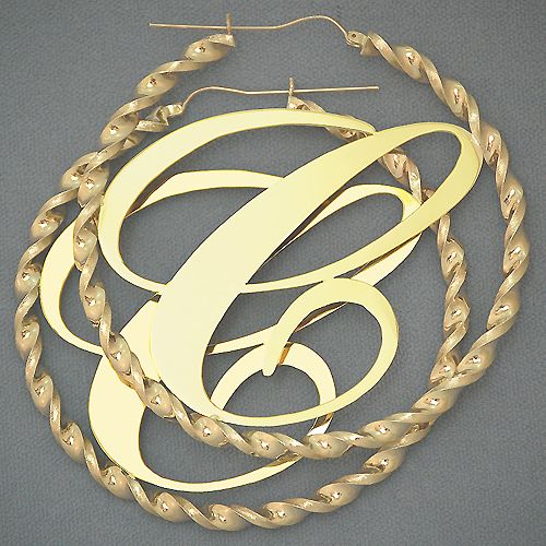 10K 4mm Big Initial Twisted Hoop Earring 3 Inch Just like Cassie s