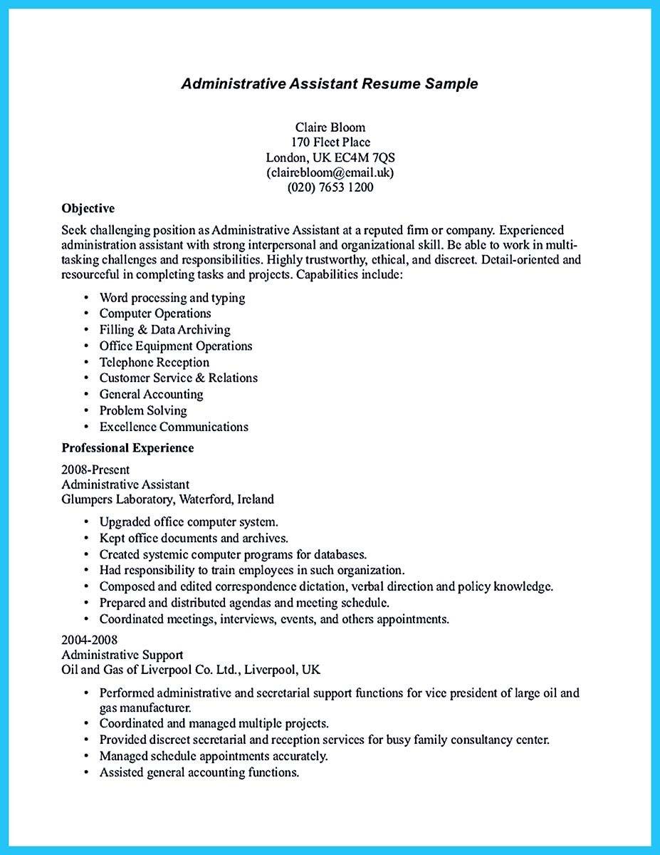 Nice Professional Administrative Resume Sample To Make You Get The