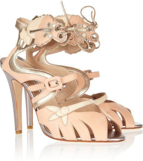 Oscar De La Renta Pink Paridisia Butterfly Appliqué Leather Sandals