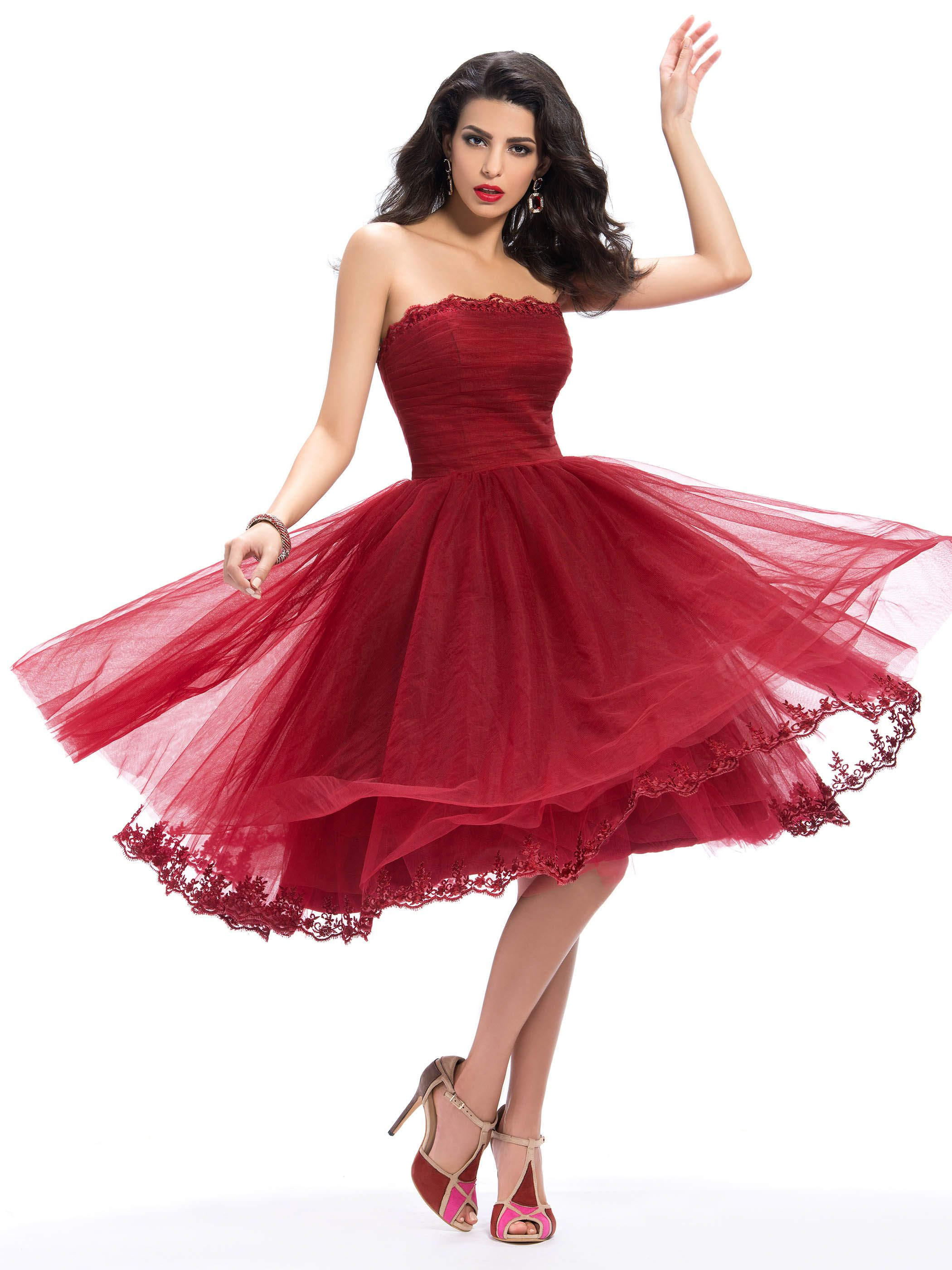 Glamour strapless appliques aline tealength homecoming dress tea