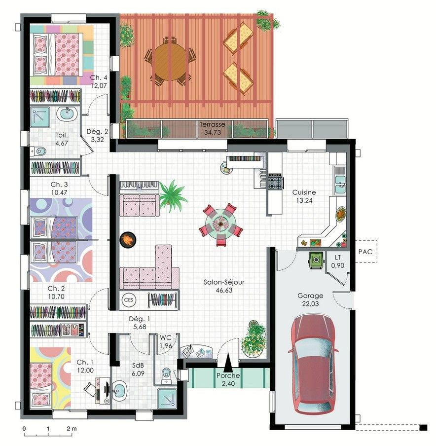great except that the bedrooms are a bit small plan maison bioclimatique plain pied - Plan De Maison Bioclimatique