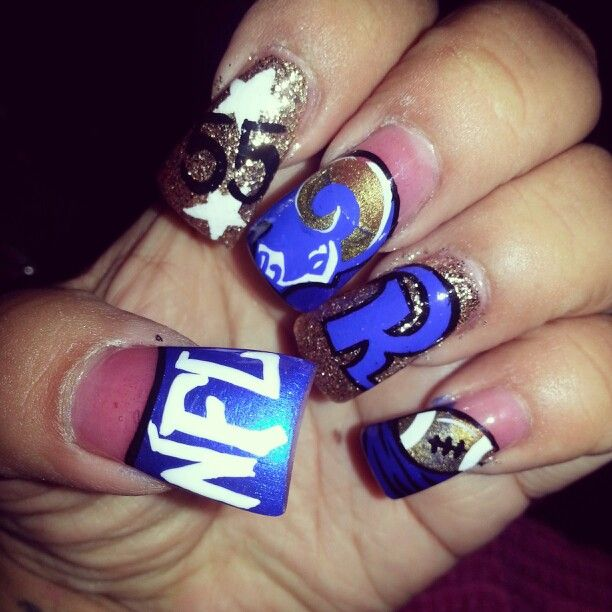 Go Rams My Nails Are Awesome I Have The Best Nail Stylist Ever Football Nail Art Football Nails Patriotic Nails Design