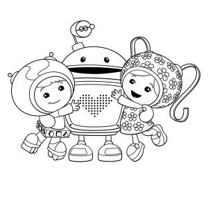 Team Umizoomi, Geo And Milli Hug Bot In Team Umizoomi Coloring Page ...