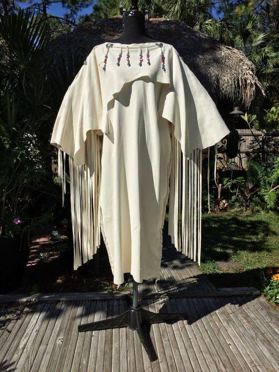 fe7d99b710 Deerskin Leather Wedding Dress with Beads-Native American Style White  Buckskin Pow Wow Regalia Primitive