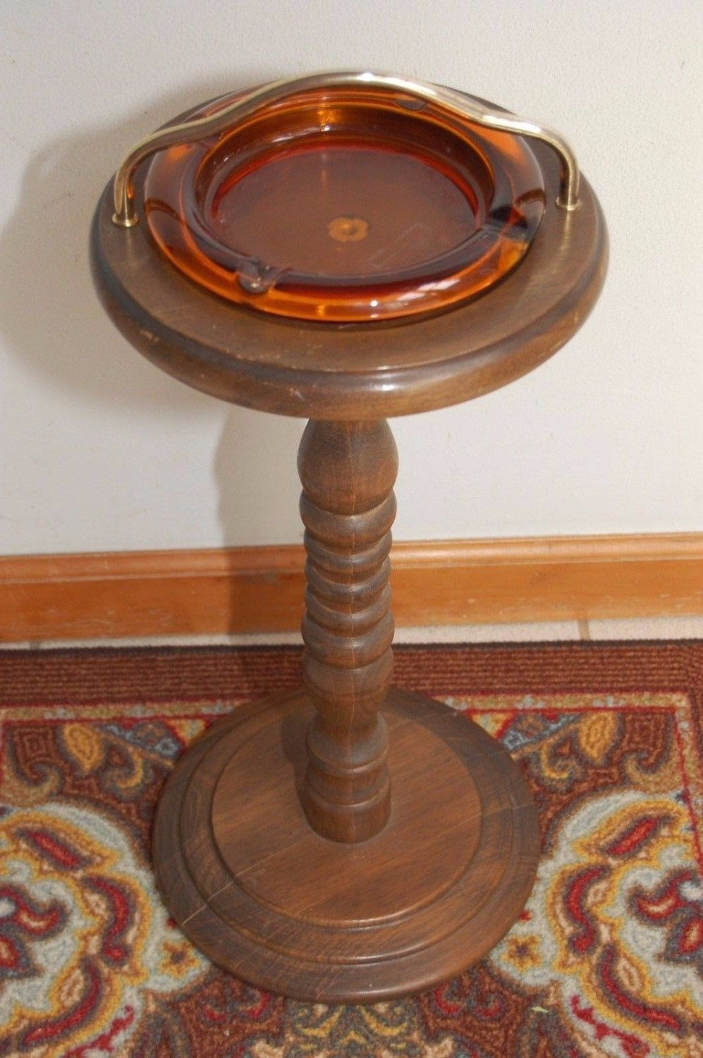 Vintage Cigar Ashtray Stand Amber Glass Wood Floor